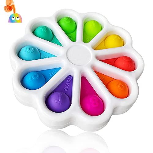 Flower Fidget Toys-10 Simple Dimple Fidget Toys Juguetes educativos Poppers de reconocimiento de color de números para aliviar el estrés y la ansiedad autismo TDAH herramientas para niños y adultos