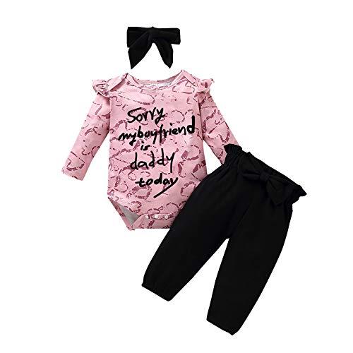 Conjunto de ropa de 0 – 12 m para niñas recién nacidas Día de San Valentín con estampado de papá es novio y amor