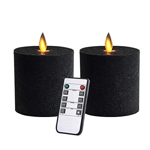 Velas LED parpadeantes sin llama, funciona con pilas, con temporizadores de control remoto para chimenea/centro de mesa/Halloween, color negro, 3 x 3 pulgadas, parte superior plana, 2 unidades