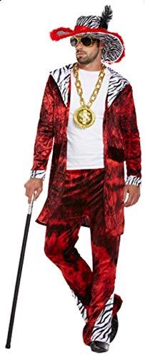 Herren Rot Big Daddy Pimp Gangster 1920s Jahre Kostüm Kleid Outfit STD & XL - Rot, One Size