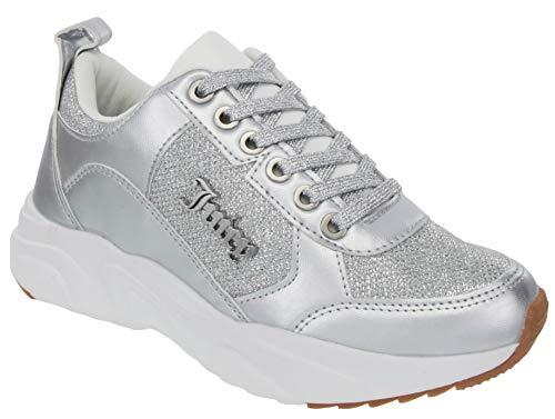 Juicy Couture - Zapatillas de Tenis para Mujer, Estilo Informal, con Plataforma, Color Blanco, Malla Plateada con Purpurina, 7.5 US