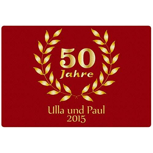 Personalisierte Fußmatte Goldene Hochzeit in Rot – persönliche Fußmatte mit Namen und Jahreszahl personalisiert – Hochzeitstaggeschenke zur Goldhochzeit 50 Jahre