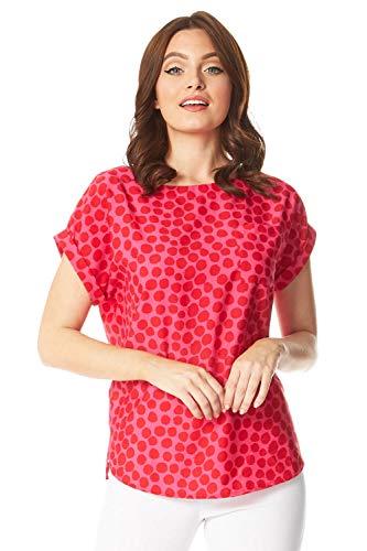 Roman Originals - Camiseta de manga corta con estampado de punto y contraste, para mujer, primavera, verano, diario, vacaciones, crucero, esencial, ligera,