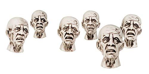 Set 6 pezzi decorazione testa zombie (8x5 cm)