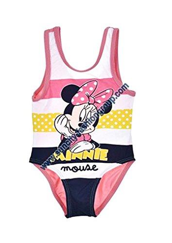 Maillot de bain 1 pièce bébé fille Minnie Mouse Rose 6 à 23mois (23 mois, Blanc/rose)