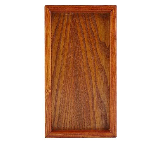Bandeja de madera, madera maciza Vajilla rectangular Bandeja de servicio Plato de fruta Plato de té Bocadillos Plato de almacenamiento de comida Plato de mesa de restaurante para el hogar (22 * 12cm)