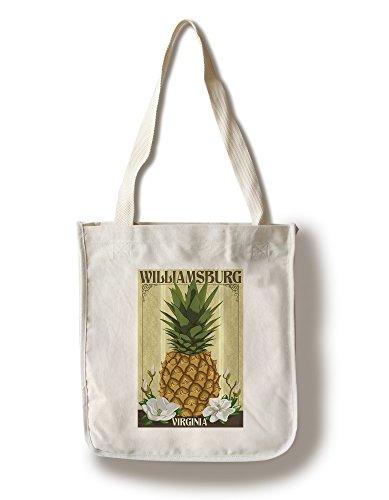 Lantern Press Williamsburg, Virginia - Colonial Pineapple (100% Cotton Tote Bag - Reusable)