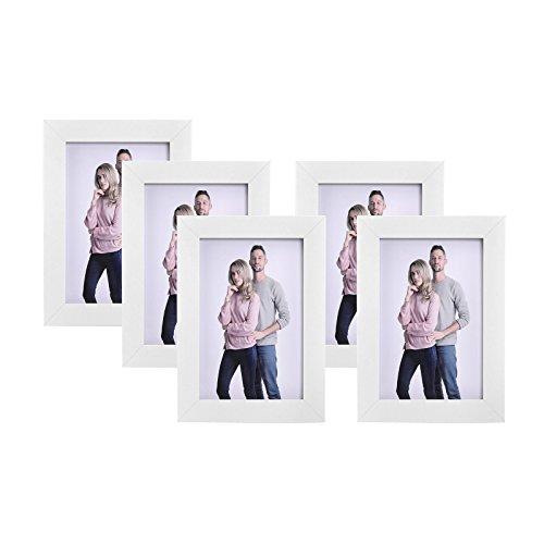 SONGMICS Set di 5 Cornici per Foto, Regalo, Souvenir, Vetro, MDF E1, 10 x 15 cm, Bianco RPF35WT
