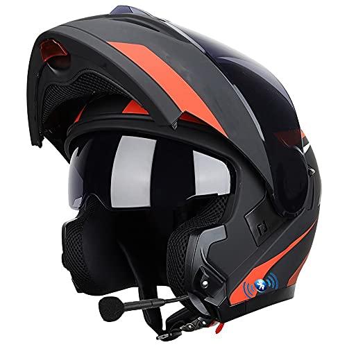 ZYTOSETR Cascos Bluetooth Casco De Moto Modular Integrado con luz Trasera, ECE Homologado, con Doble Visera Cascos De Motocicleta Cuerno, Transpirable Y Cómodo, para Adultos, Mujeres Hombres