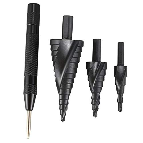 without brand 4pcs HSS Step Drill Bit Set 4-12/20/32 Millimetri Cutter Foro Metallo Wood Cone carotaggio Hole Saw Tool Center Punch (Colore : Nero)