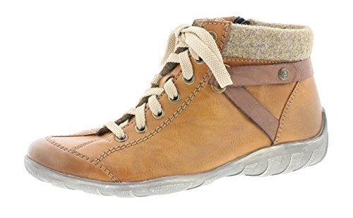 Rieker Damen Schnürstiefelette L6527,Frauen Stiefel,Boots,Halbstiefel,Schnürboots,Bootie,flach,Blockabsatz 2.7cm,Einlegesohle,Cayenne/Brandy/Wood, EU 43