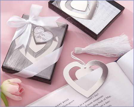 Disok–Elegante segnalibro a cuore, in sacchettino con fiocco
