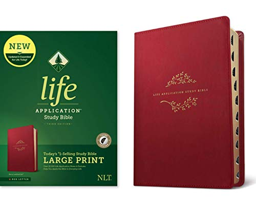 Tyndale NLT Life Application Study Bible, Third Edition, Large Print (LeatherLike, Berry, Indexed, Red Letter) – New Living Translation Bible, Large Print Study Bible for Enhanced Readability