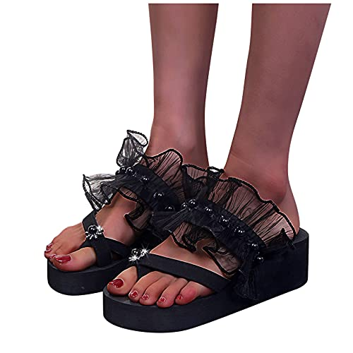 Tongs Sandales décontractées tendance pour femme avec dentelle et perle - Talon compensé - Grande taille - Sandales de plage confortables - Sandales antidérapantes - Chaussures d'été