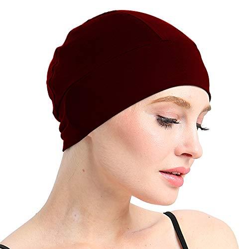Bambus-Schlafmütze für Haarausfall, Kopfbedeckung für Chemo-Frauen, Fahrradhelm, Innenfutter, Baumwoll-Mütze - Rot - Einheitsgröße