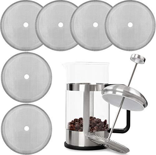 Französisch Press Ersatzfilter Mesh Screen Kaffeepressen Filter 4 Zoll Wiederverwendbarer Edelstahl Mesh Filter für 8 Tassen/ 34 OZ/ 1000 ml Französisch Press Kaffee Teemaschinen(6 Packungen)