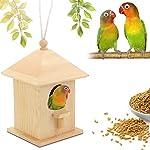 Watopi Hanging Bird Nest Box, Wooden Seed Feeder All Weather Wildlife Hotel for Small Birds Birdbath Garden Yards