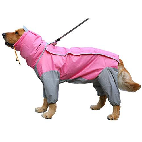 TTBD Regenmantel Für Hunde Mit Abnehmbarer Hoodie, Wasserdicht Pet Raincoat Reserved Urin Loch Design Hund Regen-Mantel-Overall Mit Gurt Leine Loch,Rosa,26