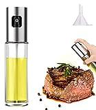 Pulverizador Spray Oliva Aceite, Homegoo Rociando Pulverizador de Botella de Aceite Vidrio de Grado Alimenticio Recargable Botella de Rociador de Aceite de Oliva para Cocinar