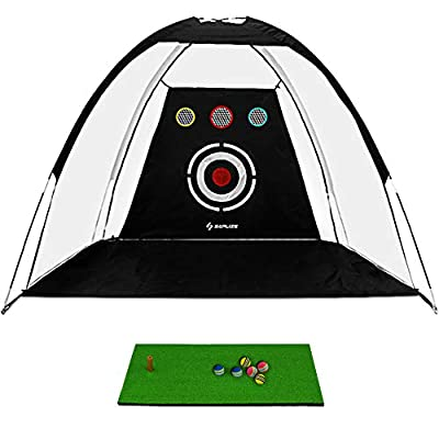 SAPLIZE Golf Hitting Net Training Aids Practice Nets with Chipping Holes, Hitting Mat 6 Foam Balls and Target Carry Bag Included Training for Outdoor/Indoor/Backyard