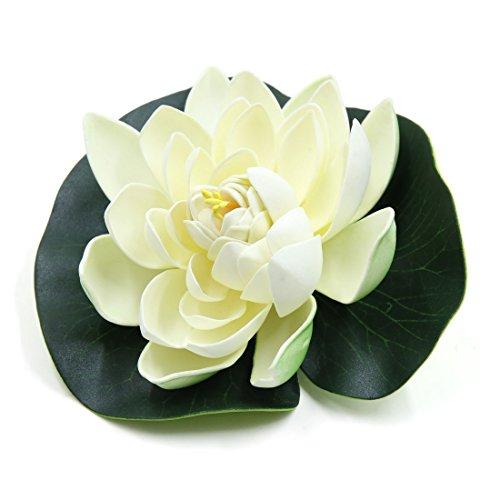 sourcing map Réservoir d'aquarium Flottant en Mousse Décoration Ornement Fleur pour Lotus Blanc Vert
