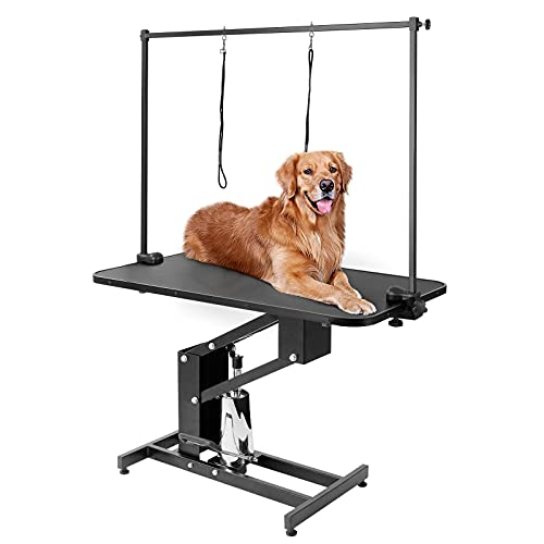 Pirecart 43' Hydraulic Dog Grooming Table, Heavy-Duty Pet Trimming Table, Professional Pet Drying Show Table w/Adjustable Arm, 2 Nooses, for Puppy, Medium/Large Dogs & Pets, 400lbs Capacity, Black