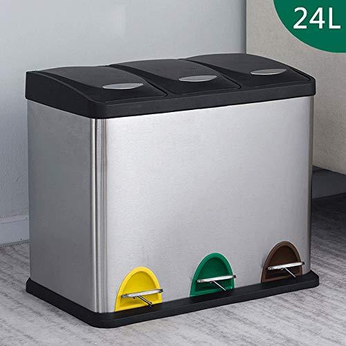 PQXOER-HO Vuilnisbak Drie vakken RVS Recycle Stap Vuilnisbak Voor Keuken 24L