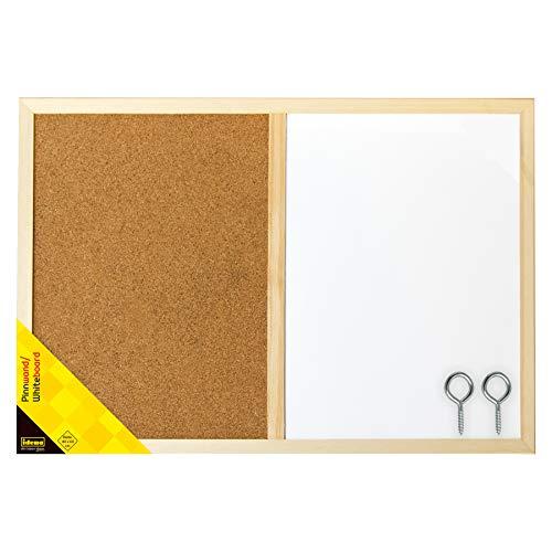 Idena 568016 – Pinnwand/Whiteboard mit Holzrahmen, inklusive 2 Schrauben, zur Wandmontage geeignet, ca. 40 x 60 cm groß, ideal als Dekoration und für den Arbeitsplatz