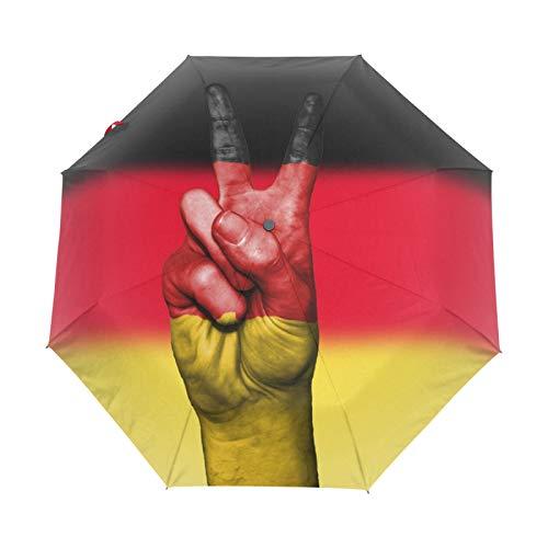 Kleiner Reiseschirm Winddicht im Freien Regen Sonne UV Auto Compact 3-Fach Regenschirm Abdeckung - Friedenshand Deutschland Flagge