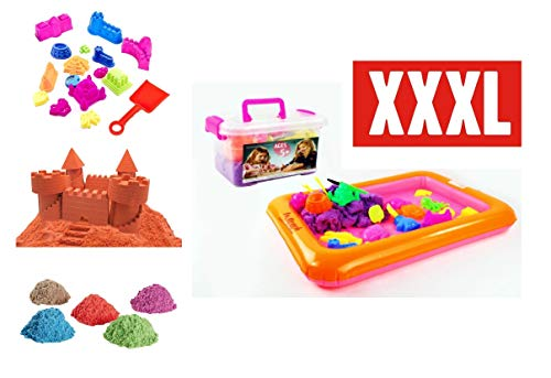 Premium XXXL Set: 2 kg Kinetischer Sand (4 tolle Farben) Aufblasbarer Sandkasten Sandformen Schaufel Koffer (UVM.) Bastelspiel Familienspiel Lernspiel Kreatives Spiel - HUKITECH
