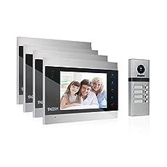 TMEZON Video dörr intercom dörrklocka intercom system, dörr intercom med 7 tum 4-monitor 1 kamera För familjens hem, touch-knappen, mörkerseende, stöd automatisk ögonblicksbild / inspelning