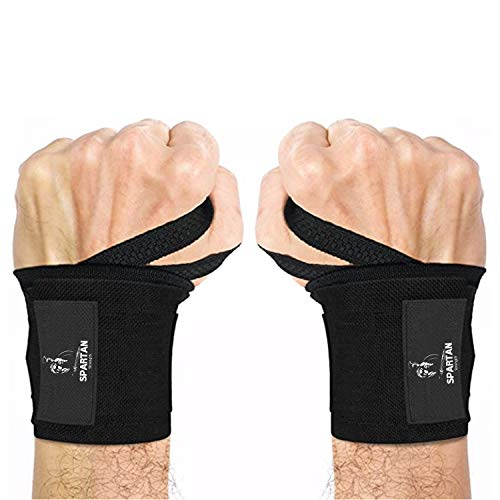 Spartan Strength Weightlifting Wrist Straps - Best Support & Relieve for Gym & Crossfit - Best Wrist Straps for Powerlifting, Bodybuilding, Strength Training, Weight Lifting - Men and Women (Black)