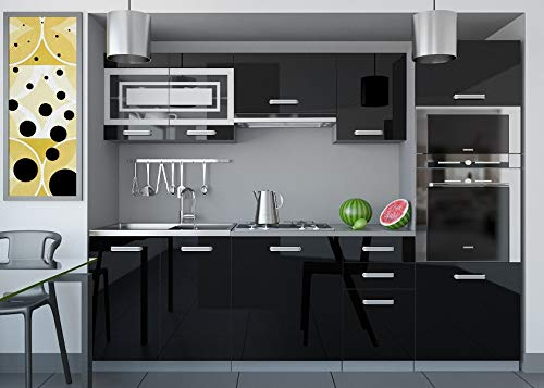 Tarraco Comercial Muebles de Cocina Completa Paula Negro Brillo 240 cm