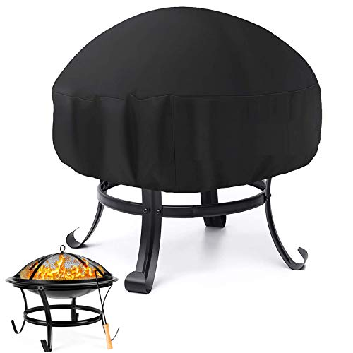 Sqodok Round Fire Pit Cover Waterproof, Outdoor Patio Fire Bowl Cover with Drawstring Closure for 30/32/48inch Patio Fire Pit or Fire Pit Table, All-Weather Protection - 48' Dia x 18' H, Black
