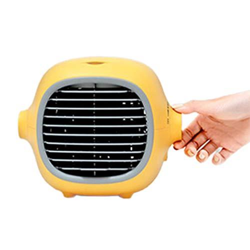 WXZQ Lindo Ventilador de enfriamiento portátil evaporativo Mini humidificador con Carga USB Ventilador de Escritorio de enfriamiento silencioso Amarillo
