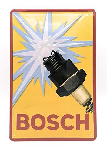 Retro Werkstatt-Blechschild mit Bosch Zündkerze Motiv, hochwertig geprägtes Vintage...