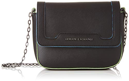 Armani Exchange Damen Crossbody Bag Colorful Schultertasche, Schwarz (Black), 15x6.5x20 cm