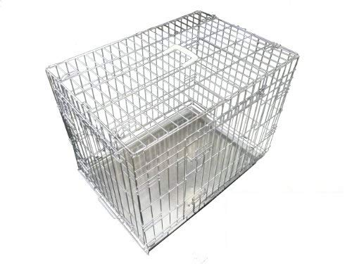 Ellie-Bo Dog Puppy Cage Medium 30 inch Silver Folding 2 Door Crate with Non-Chew Metal Tray