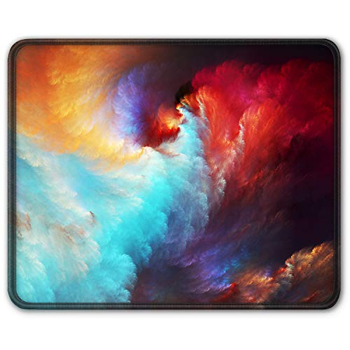 Auhoahsil Gaming Mouse Pad, Square Galaxy Mousepad Anti-Slip Rubber Mouse Mat with Durable Stitched Edge for Office Laptop Computer PC Men Women Kids, 11.8 x 9.8 in, Custom Design Colorful Clouds