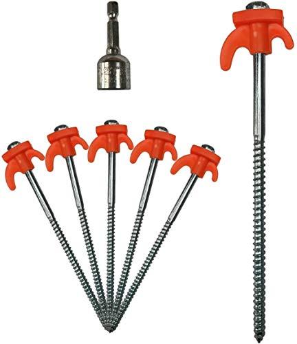 EKL - Estacas atornilladas de acero para tienda de campaña con adaptador de taladro, pack de 30
