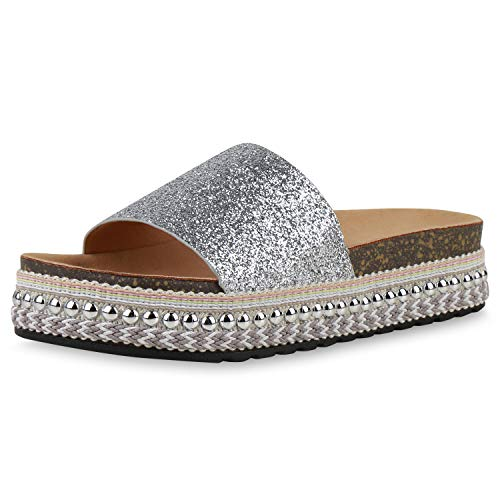 SCARPE VITA Damen Sandaletten Pantoletten Glitzer Ethno Look Nieten Plateau Schuhe Profilsohle Schlupfschuhe Sommer 196320 Silber 38