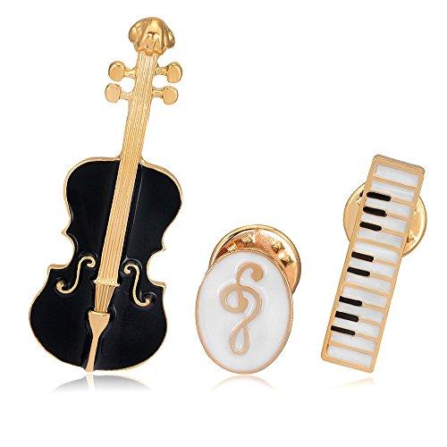 YRJIE Fashion Creative Violin Muziek Symbool Toetsenbord Instrument Combinatie Broche voor Unisex Sieraden