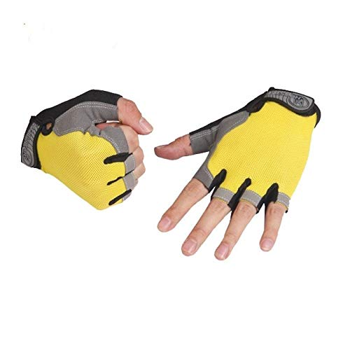 Sport Gloves Zhangjin Gym Gloves Fitness Weightlifting Training Mittens Outdoor Sports Men's Gloves Women Ridding Guantes Gym Gloves (Color : Yellow, Gloves Size : L)
