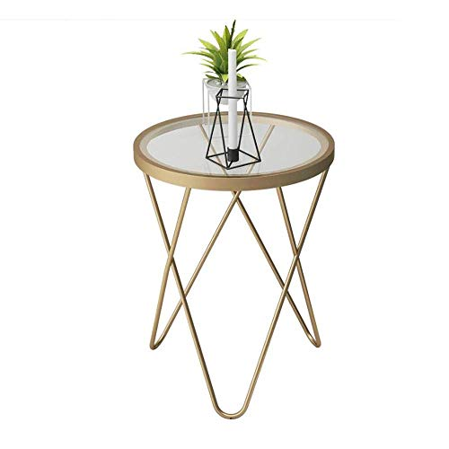 HZWDD Camber Round Side Table High Gloss Small Coffee Table Gold End Side Tables Living Room Small Spaces Snack Sofa Table,Living Room Furniture