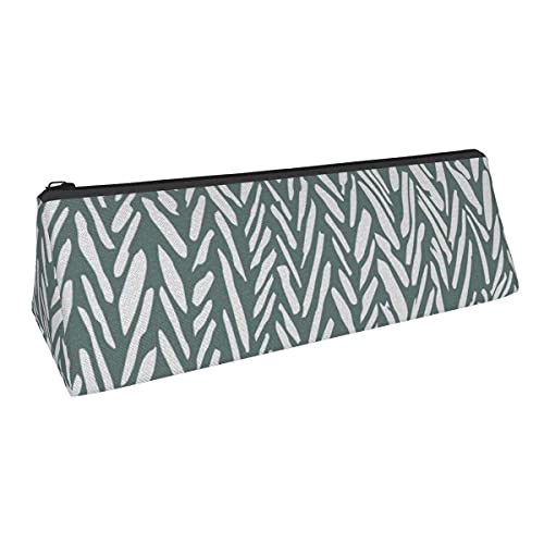 Bolsa de almacenamiento para bolígrafos con diseño de espiga, color verde y blanco, de pequeña capacidad, para niños, niñas, universidad, escuela, oficina, alicates de papelería