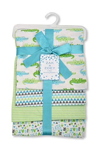 Zak and Zoey Lovable and Cozy 4-Pack Receiving Baby Blankets - 100% Cotton 26' x 26'...