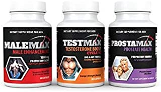 Max Pack- Complete Male Enhancement Package- Contains 1 Bottle MaleMax Male Enhancer- 1 Bottle TestMax Natural Testosterone Booster- 1 Bottle ProstaMax Prostate Support Supplement- All a Man Needs!