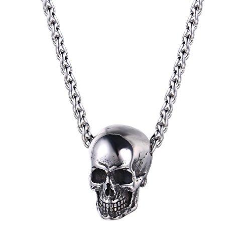 U7 Collar con Colgante de Cabeza de Calavera de Halloween, Acero Inoxidable, diseño de Ciclista gótico para Hombres y Mujeres, Regalo Punk