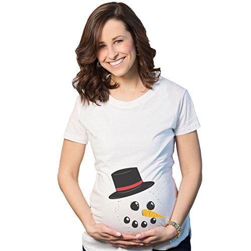 Crazy Dog Tshirts - Maternity Snowman Face Announcement Pregnancy Funny Christmas Pregnancy T Shirt (White) - S - Femme