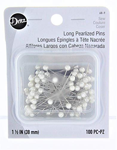 Dritz 68-9 Pearlized Pins, Long, White, 1-1/2-Inch (100-Count)